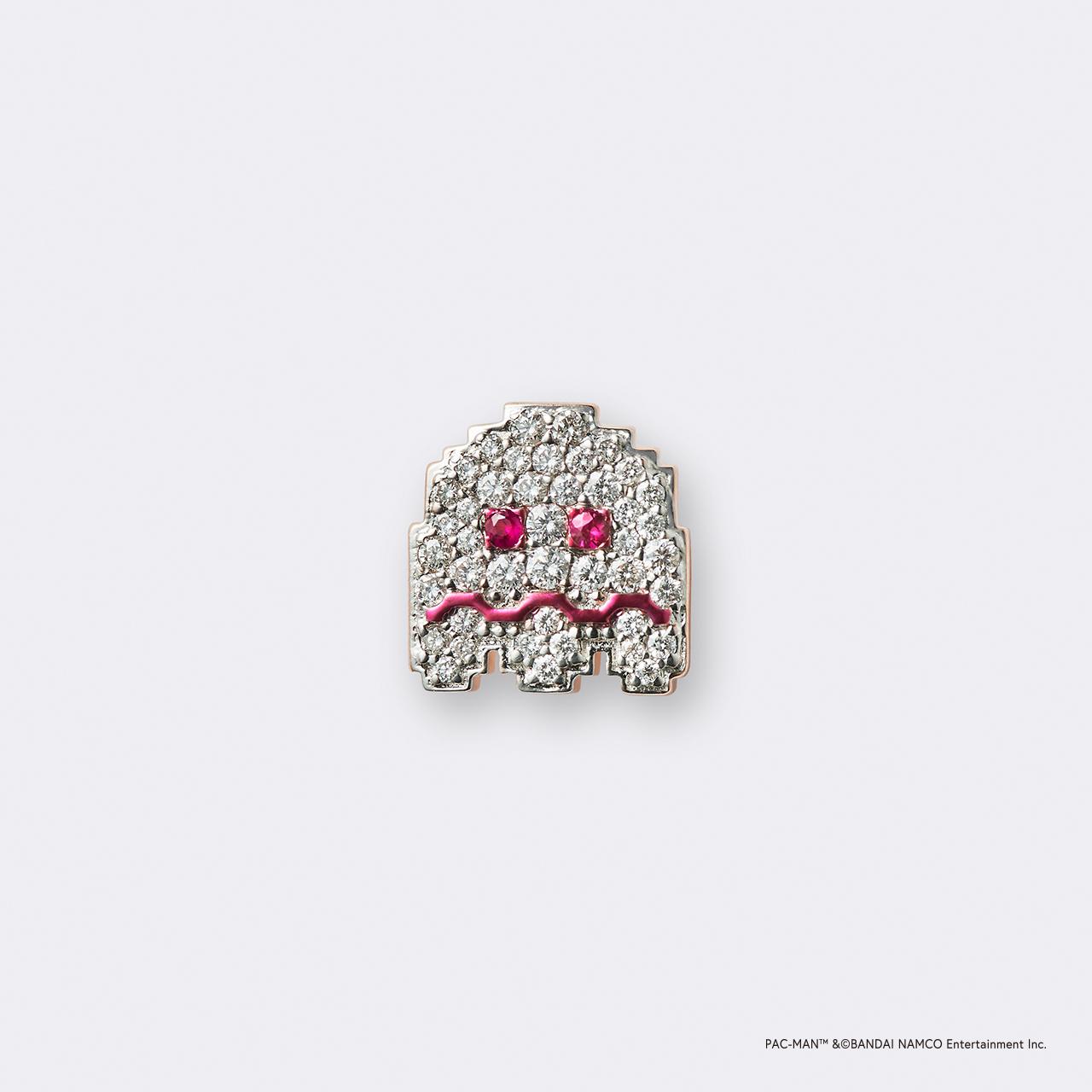 PAC-MAN  (パックマン) K18PG・ホワイトイジケゴースト ルビー ダイヤモンドピンバッジ