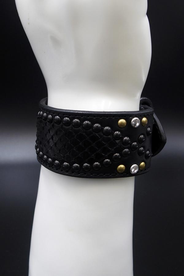 Item No.0226: Snake on Snake Bracelet/Deep Purple Blue Python/Silver Studs/White Swarovski
