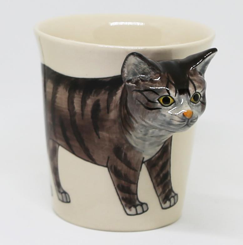猫マグカップ(3Dマグ)タビー