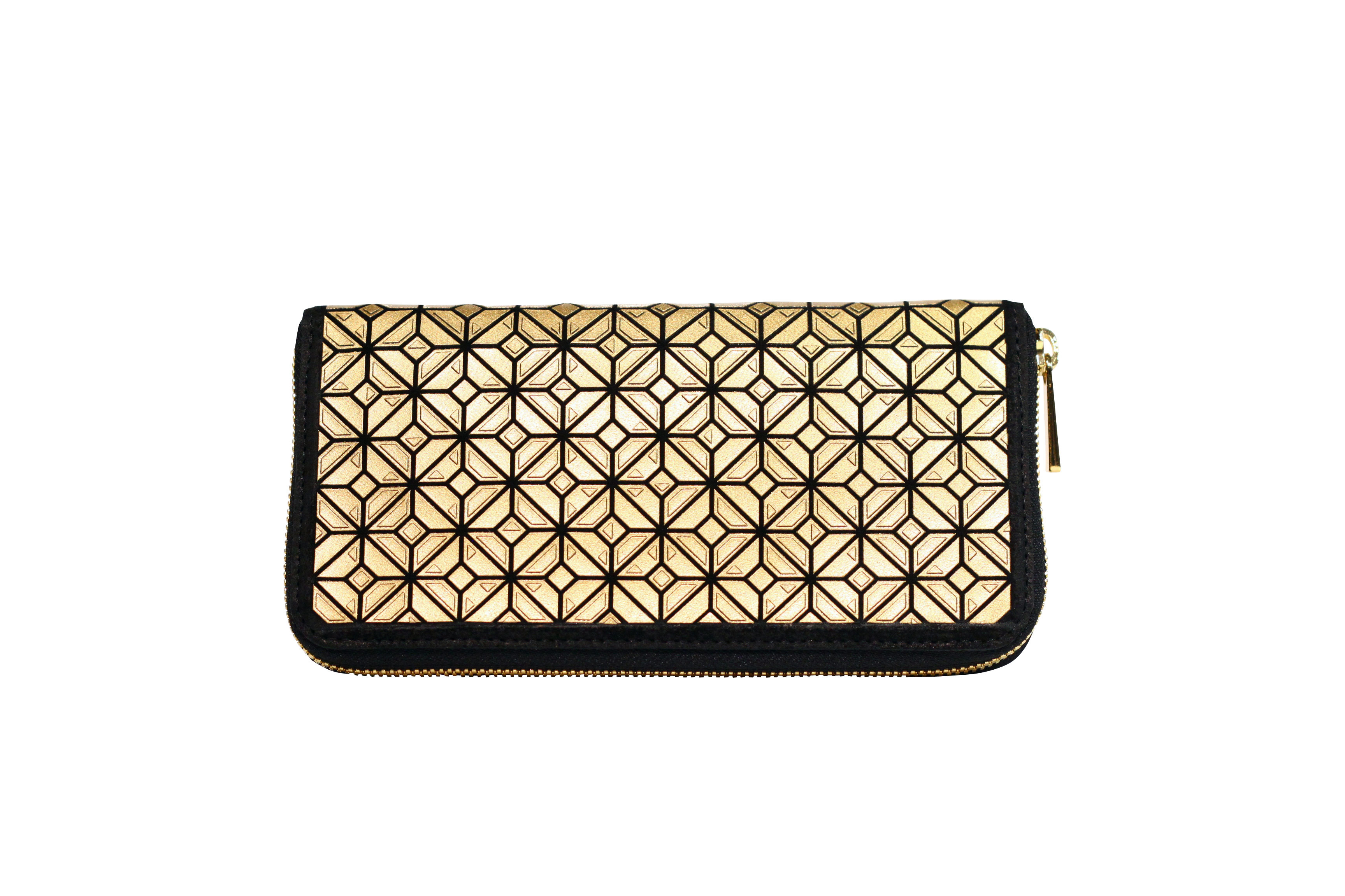 WALLET W PRINTED / Black x Gold
