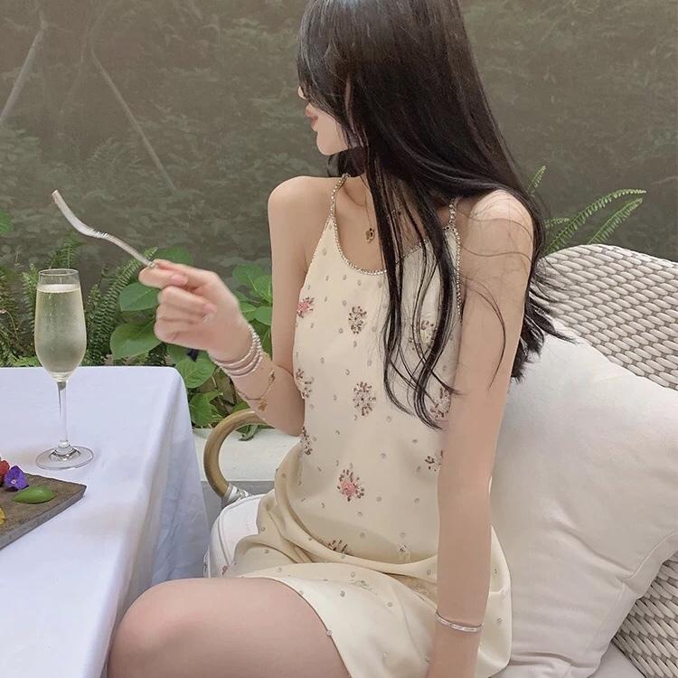 glitter flower camisole dress
