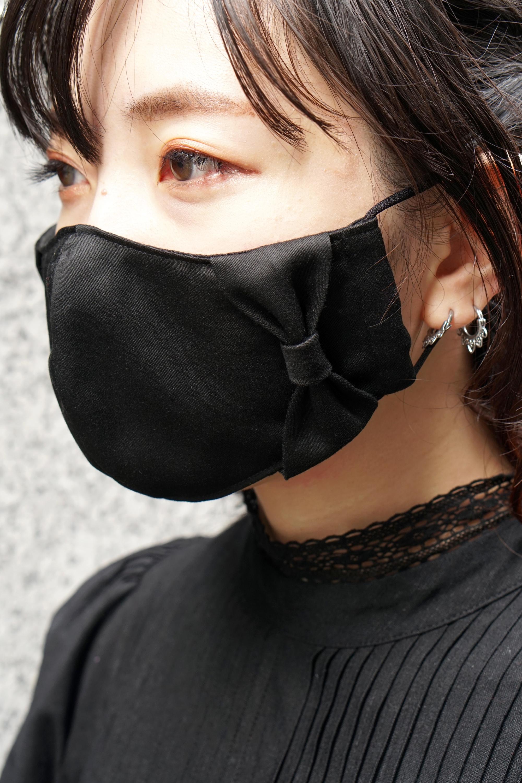 【横顔美人】立体リボンマスク/ブラック+共布リボン
