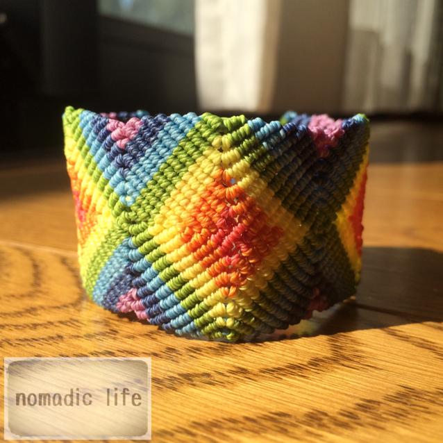 No.3//rainbow bracelet/レインボーマクラメブレスレット