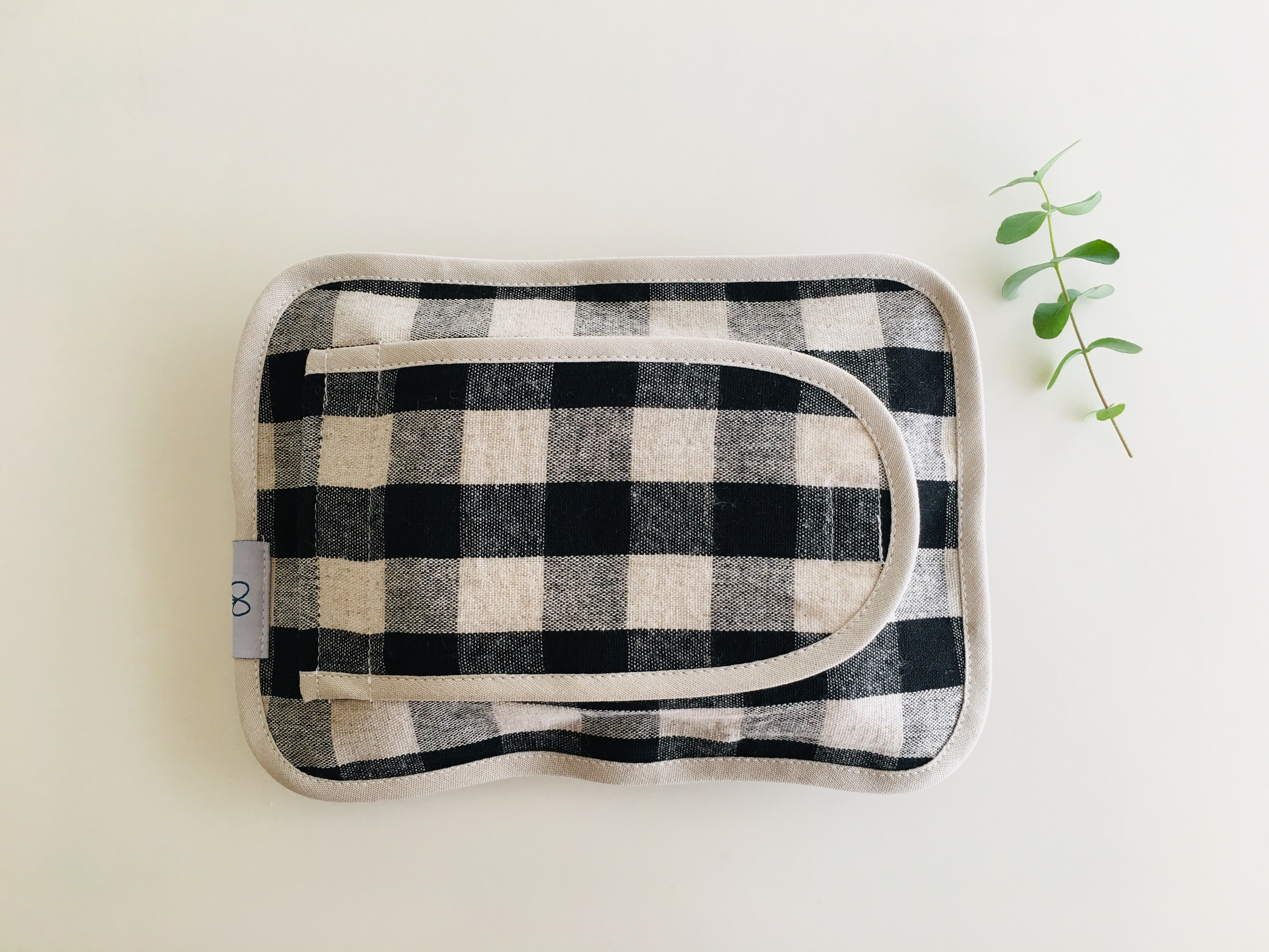 布製おしりふきケース 黒のギンガムチェック