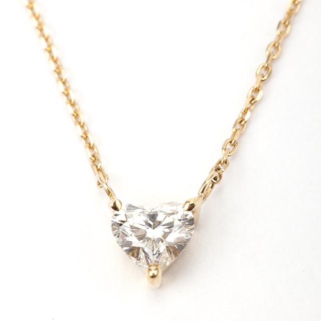 ハートシェイプカット ダイヤモンド ペンダント 0.33ct K18 イエローゴールド  チェカ