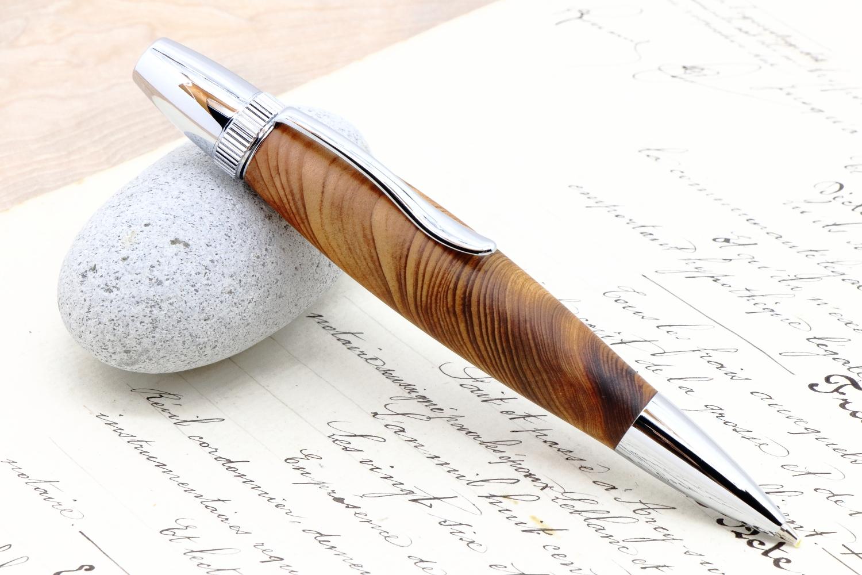 受注生産 「国産銘木 屋久杉・油木 PTS」希少木の手作りボールペン♪ジェットストリーム対応