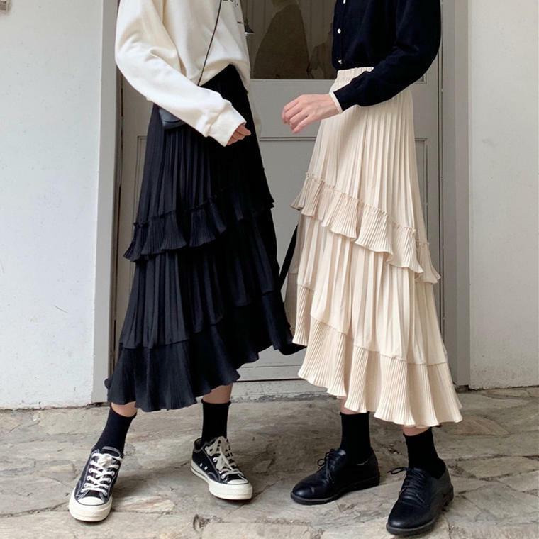 【送料無料】コーデの主役に ♡ 大人可愛い プリーツ ティアード フィッシュテール ロングスカート