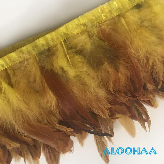 フェザーロール 【黄色】 14~19cm丈 1m DIY 羽 タヒチアン 衣装材料 タヒチアン ポリネシアンフェザー