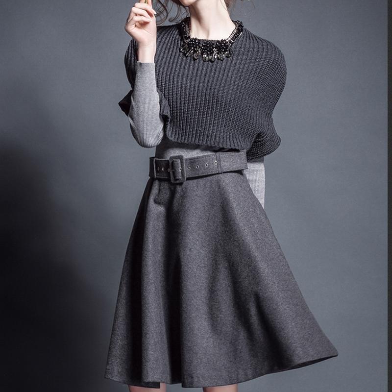 【セットアップ】ノースリーブセーター+無地ケープ+ファッションスカート3点セットアップ14945350