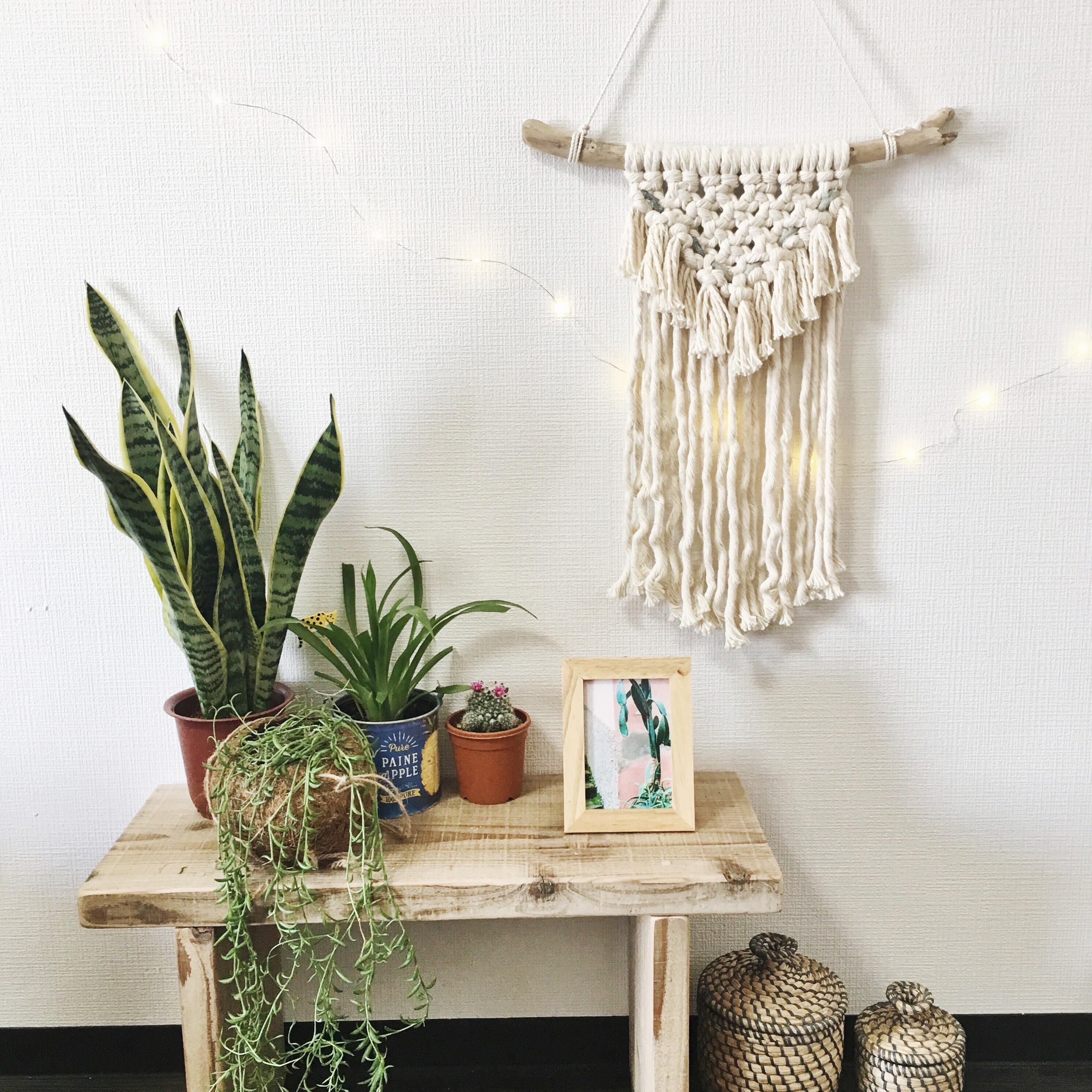 thick macrame tapestry - Denim × fringe -