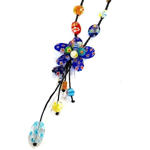 acc-023 ベネチアングラスの花ネックレス