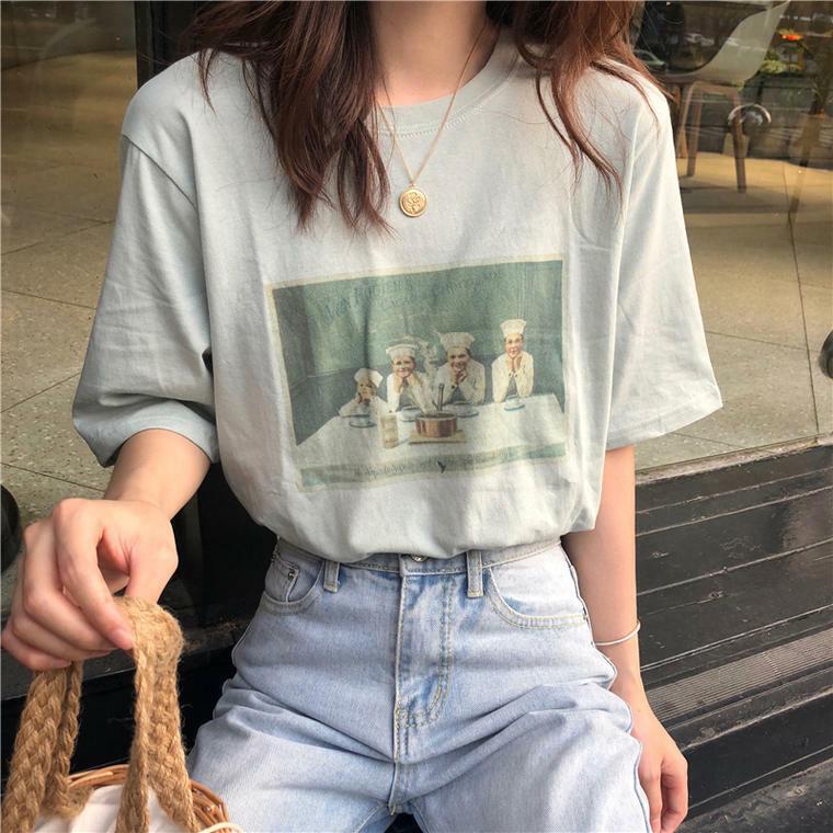 【送料無料】おしゃれなレトロプリント♡ カジュアル ビッグ Tシャツ