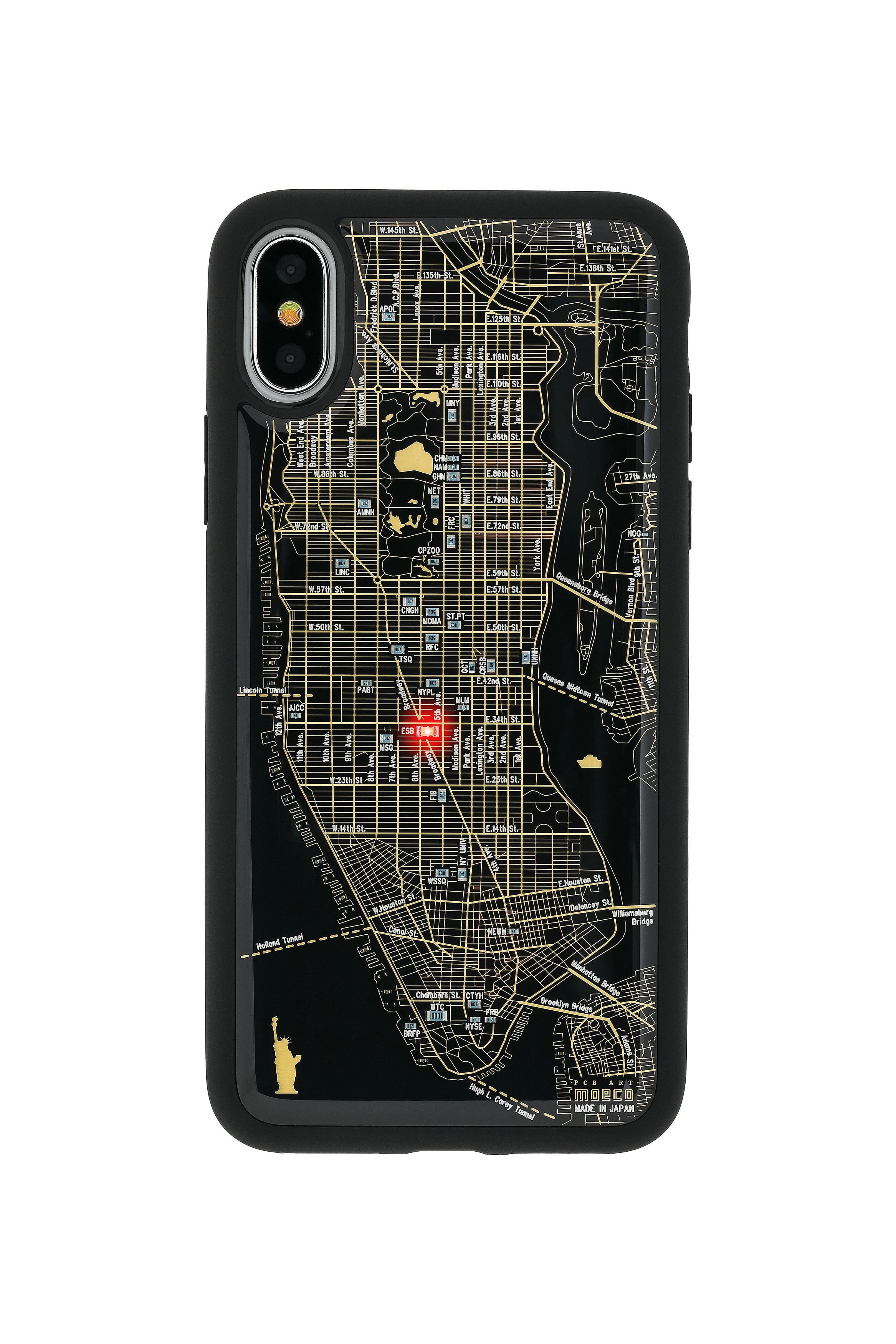 FLASH NY回路地図 iPhoneX/XSケース 黒【東京回路線図A5クリアファイルをプレゼント】