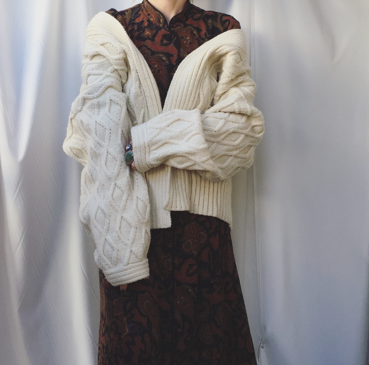 vintage volume aran knit cardigan