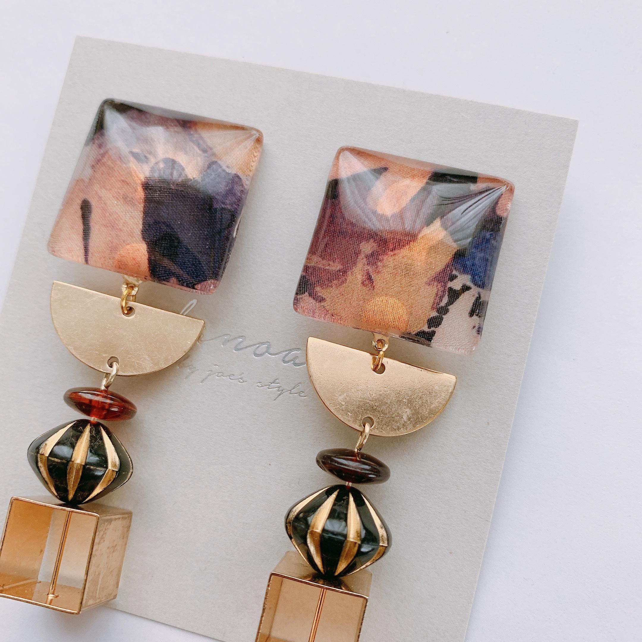 """"""" Earrings NO.danoan-1-1692″リバティ×ゴールド"""