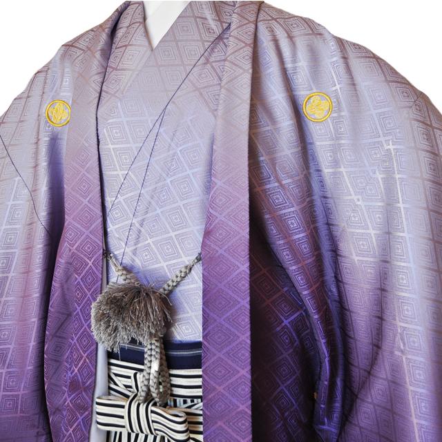 レンタル男性用pb01【紋付袴】紫ぼかし着物と黒銀ぼかし袴のフルセット[往復送料無料] - 画像1