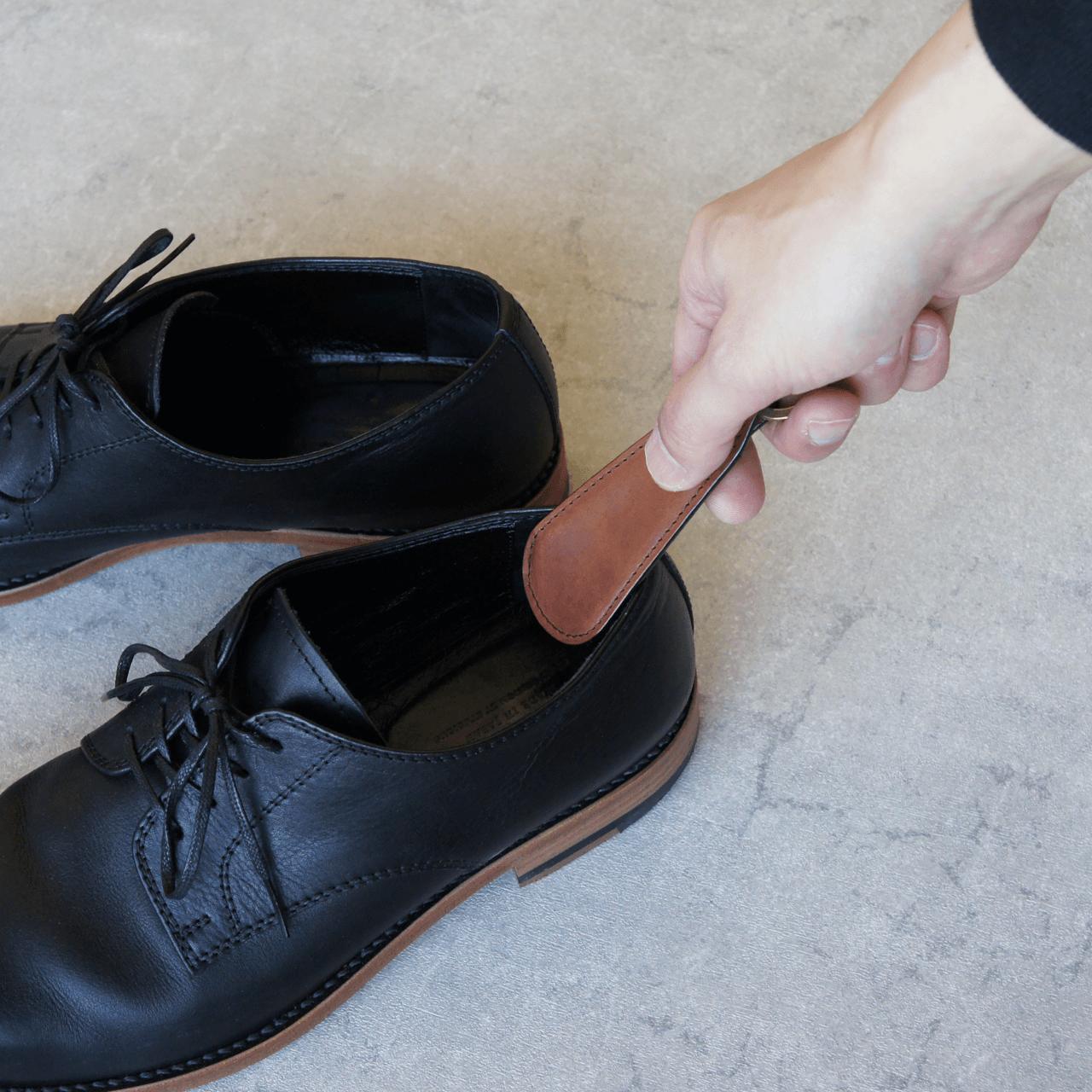 ステッチが選べる★革の靴べらキーホルダー(キャメル)