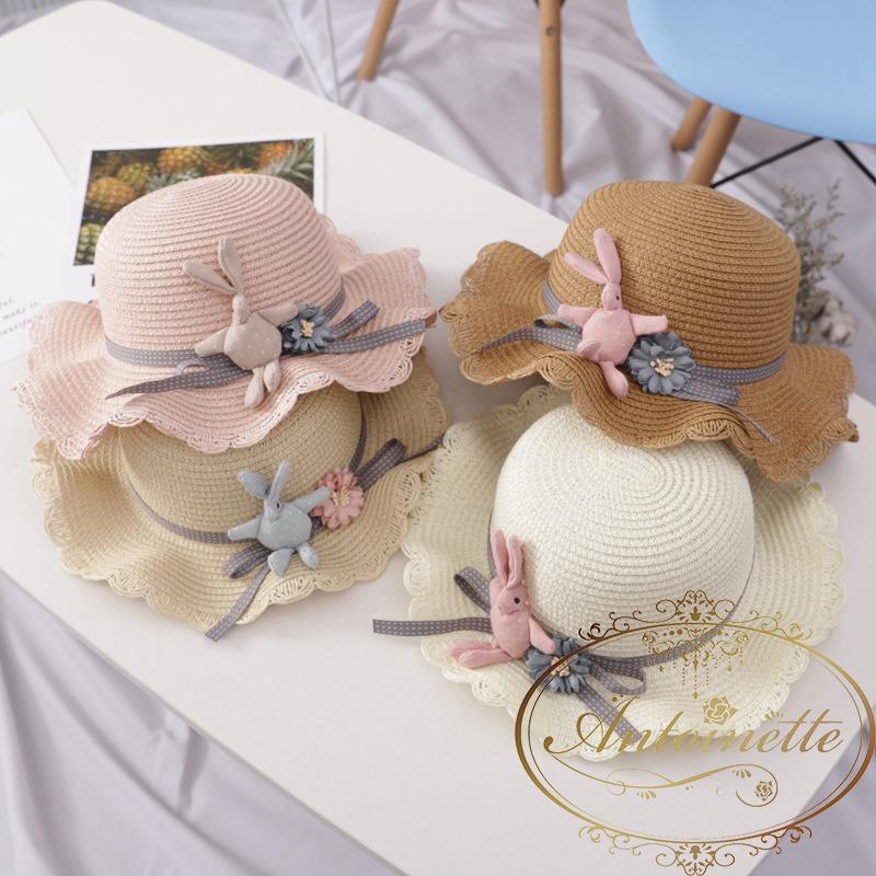 51cm うさちゃん 帽子 麦わら スプリング サマー おんなのこ 海外 可愛い Summer Girl Hat Cap Breathable Straw Hats Balls Rabbit Flower Princess Hat Seaside Cute Bag Kids Beach Sunhats Set