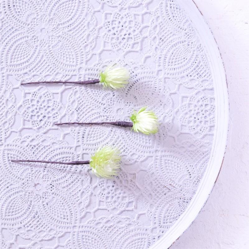 〖 ツートングリーン・シルバーデイジーのヘッドドレスパーツ3本 〗お好きなプリザ花材をカスタムメイドでお作り致します
