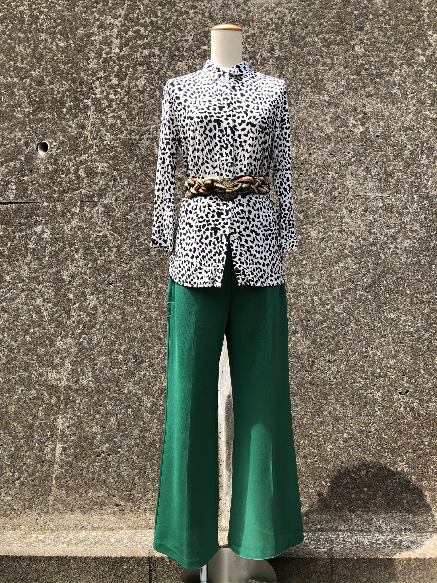 polyestel flare pants green