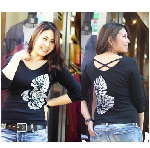 APPLE HOUSE/ZA TOKYO  100%made in Japan. ハワイアンデザインの八分袖後クロスTシャツ(ダブルモンステラ) No.134294