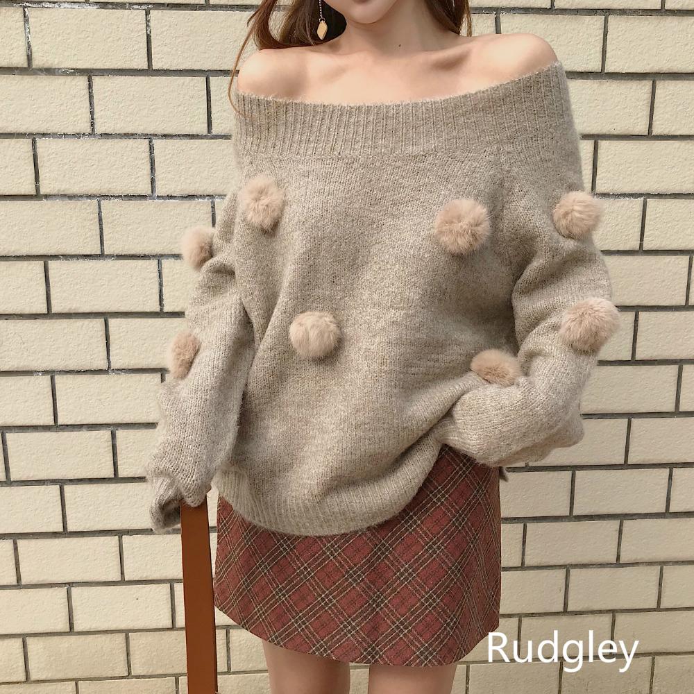 長袖ポンポン付きニットセーターかわいいトップス