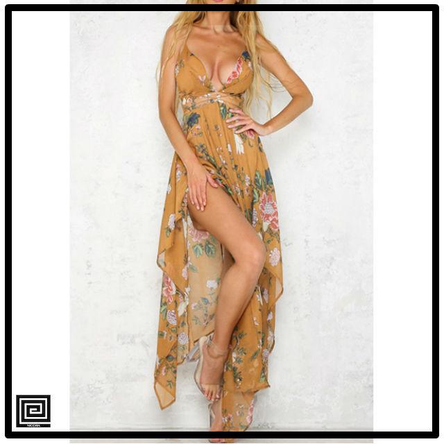 ディープVネックノースリーブロングドレス
