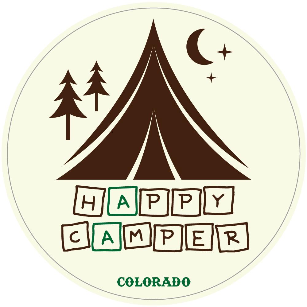 "111 HAPPY CAMPER ""California Market Center"" アメリカンステッカー スーツケース シール"