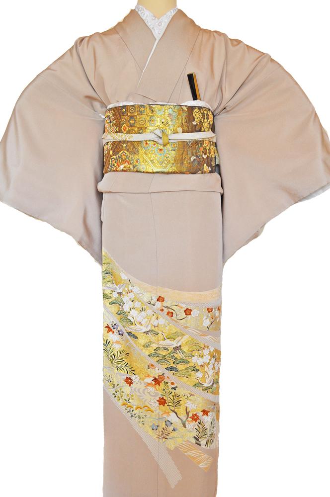 レンタル色留袖■高級加工■桃色地 流れる短冊に豪華な金彩鶴や松の柄irotome2【往復送料無料】 - 画像2