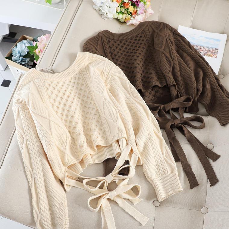【送料無料】 バックスタイルが可愛い♡ バックリボン Vネック ケーブル編み ショート丈 プルオーバー ニット
