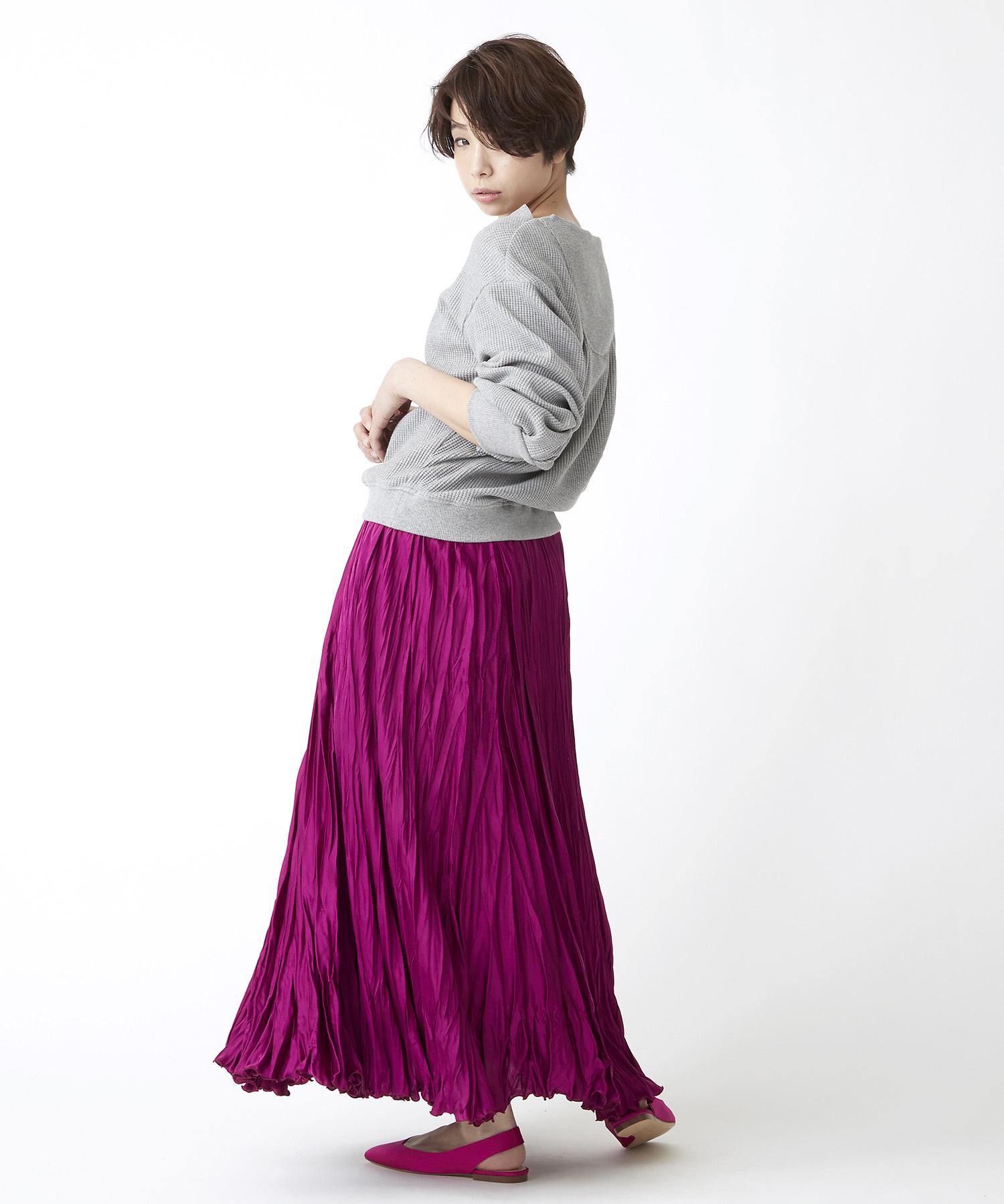 ワッシャープリーツスカート(ピンク)