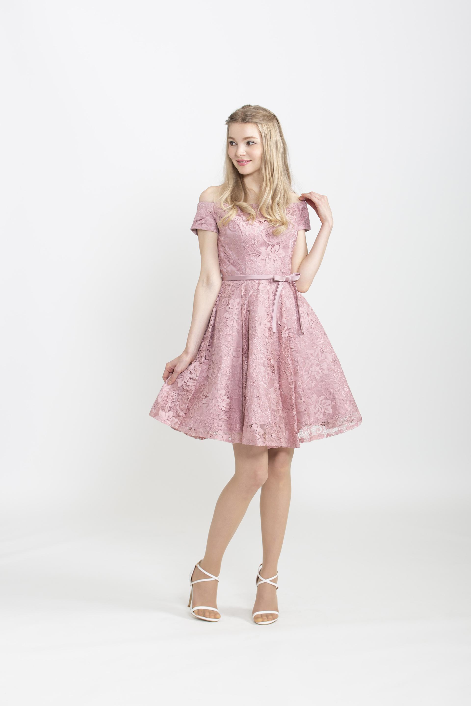 【レンタル】ピンクレースミニドレス