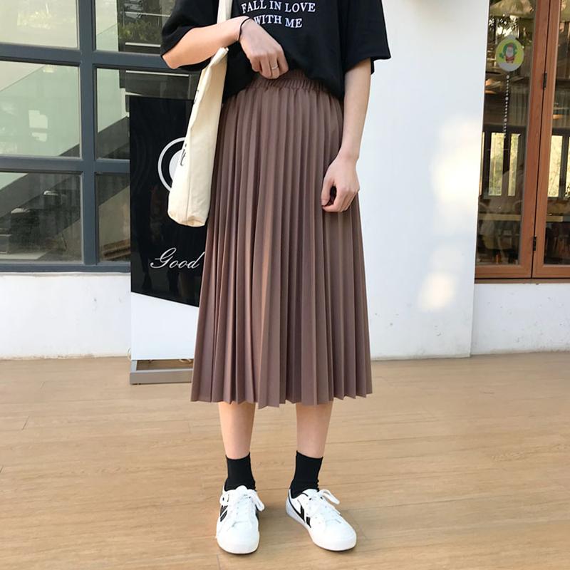 【送料無料】 お洒落なのに楽な着心地♡ プリーツ ロング スカート シンプル レトロ ウエストゴム