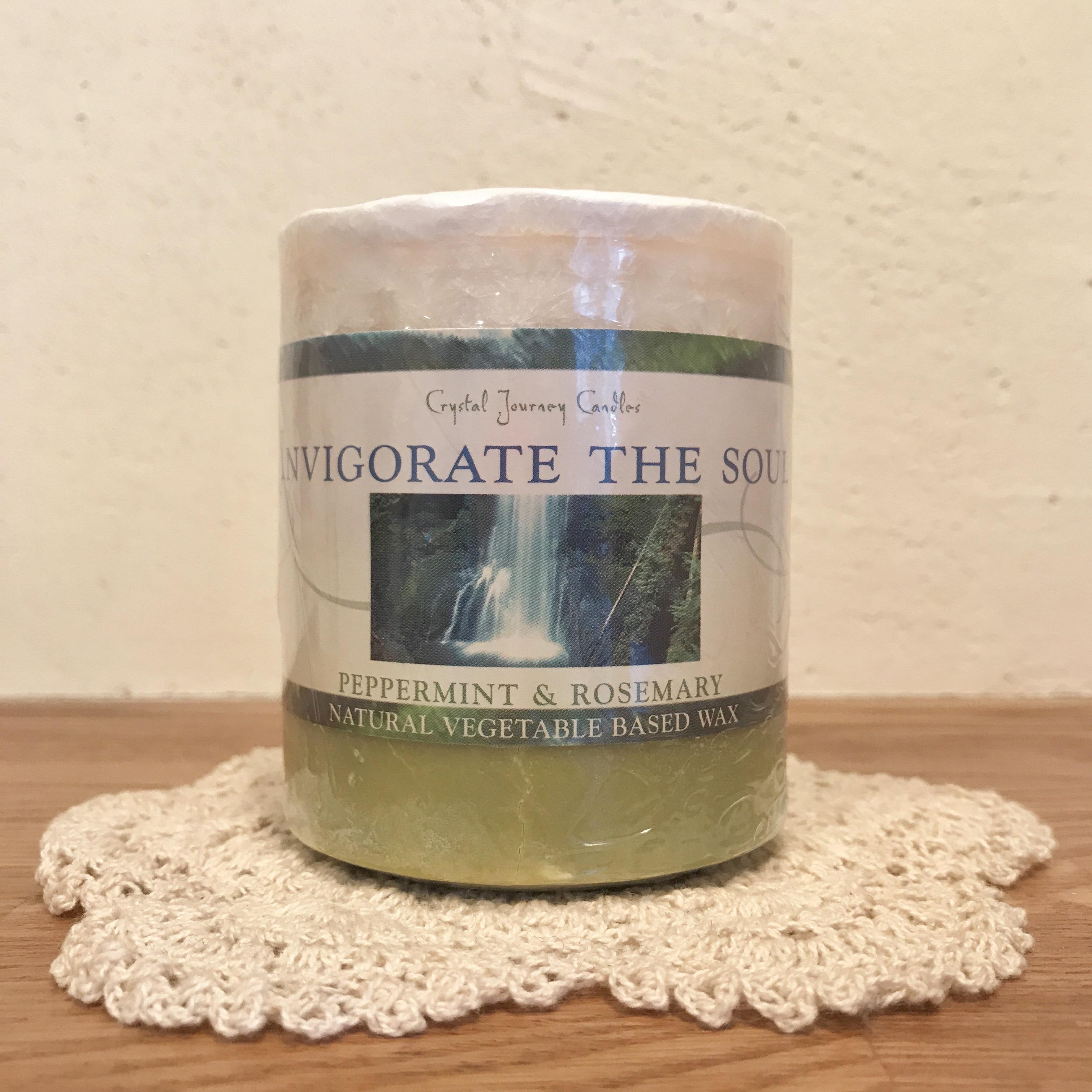すっきりとした香りで元気を取り戻す|フロスティ・クリスタル・キャンドル 魂の輝き(ペパーミント&ローズマリー)【Crystal Journey Candles 】