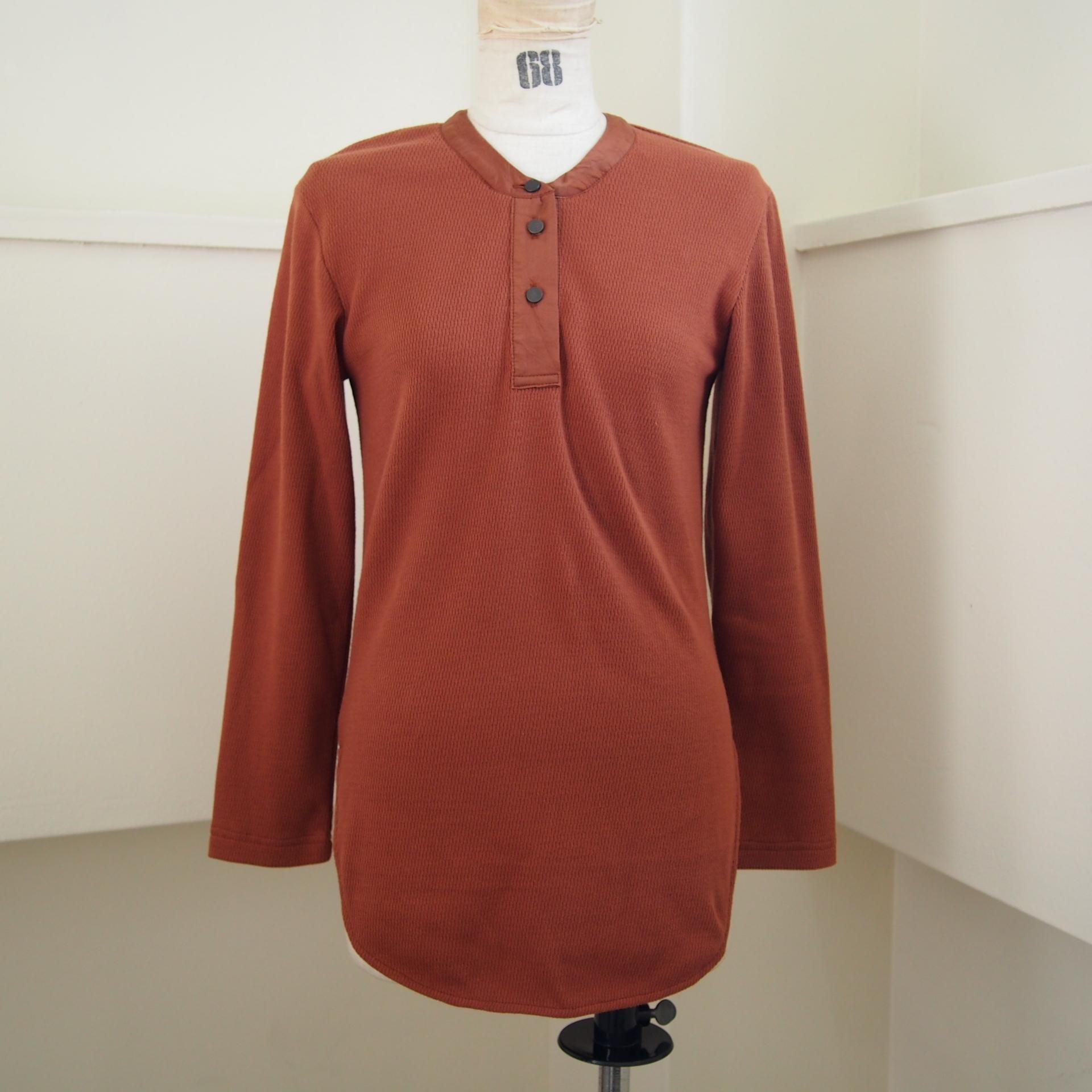 【RehersalL】military waffle henley neck(tangerine) /【リハーズオール】ミリタリーワッフルヘンリーネック(タンジェリン)