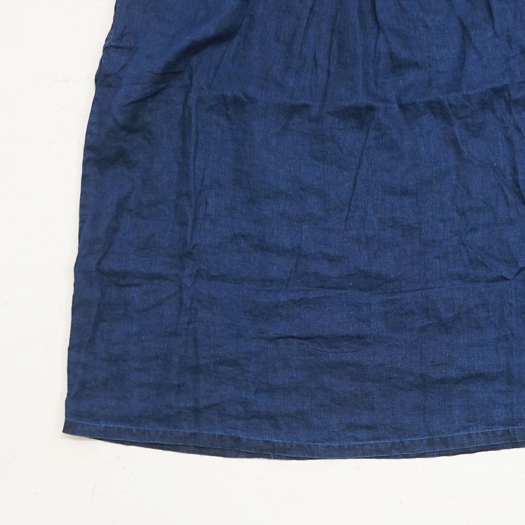 ICHIAntiquites イチアンティークス LINEN INDIGO BLEACH YORK DRESS リネンインディゴブリーチヨークワンピース (品番600128)