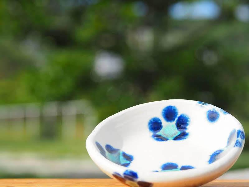 かわいい花文 3寸皿(約9cm)2枚セット 工房sen やちむん