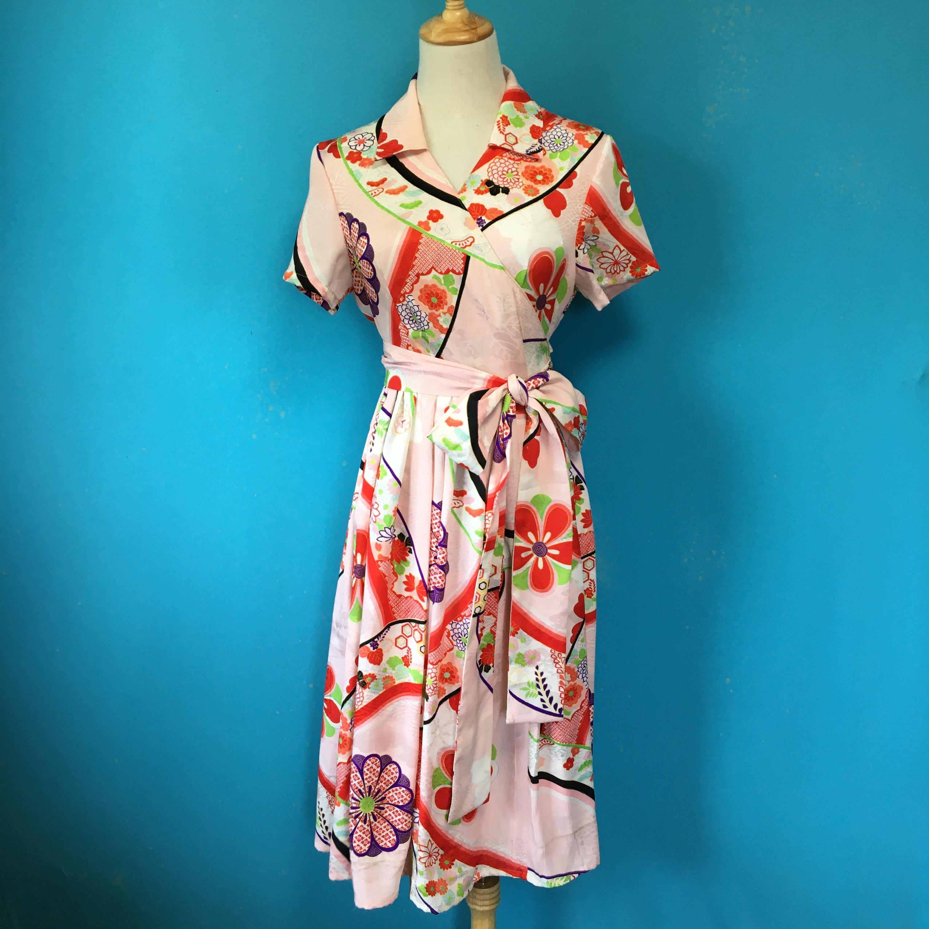 Vintage kimono dress/ US 6 レーヨン