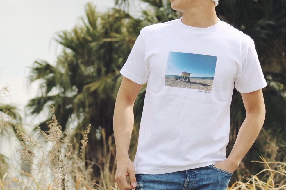"""""""Beach"""" photo Tシャツ(white)"""
