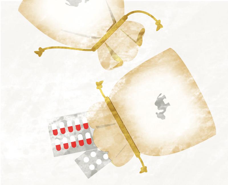 らくだのおくすり巾着袋(らくだ薬局|京都)
