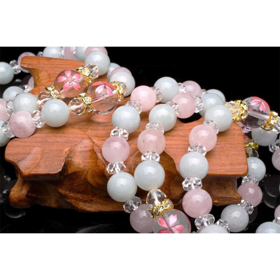 【愛・調和・統合】天然石 水晶・翡翠・ローズクォーツ 桜ブレスレット(10mm)