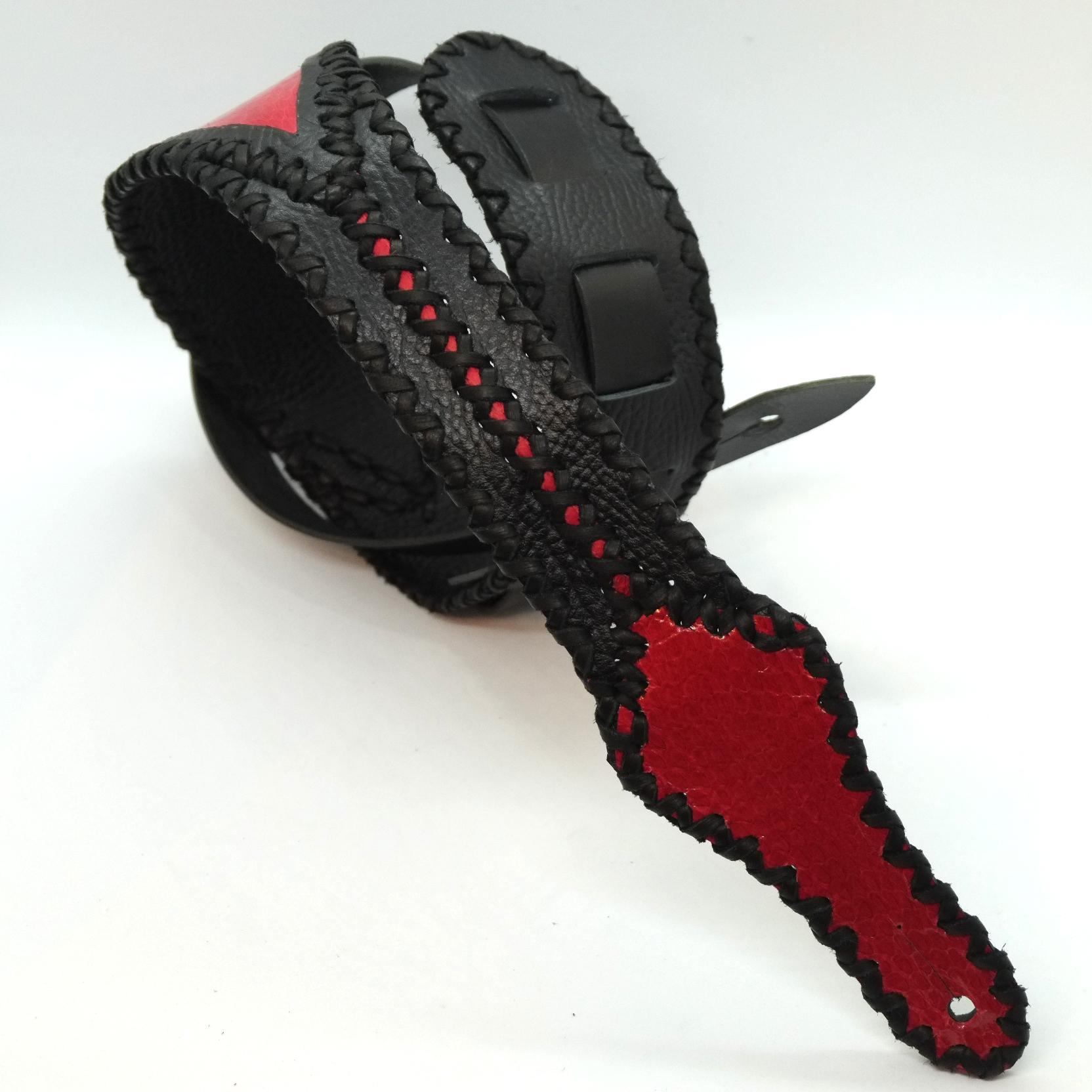 """ギターストラップ""""YAJIRI″ BLACK & RED"""