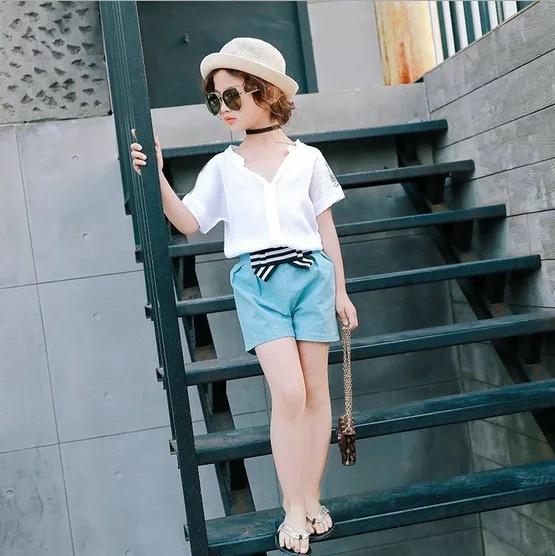 デザインシャツ&リボンショートパンツ セット【537】