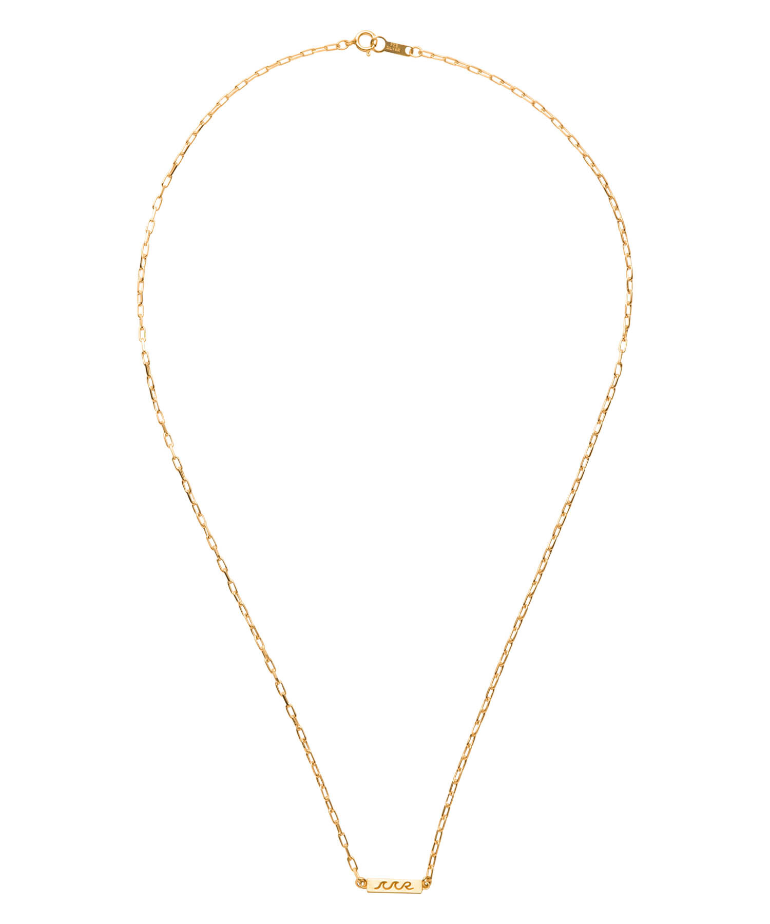 WAVE ICON PLATE CHAIN NECKLACE-GOLD[REA124]