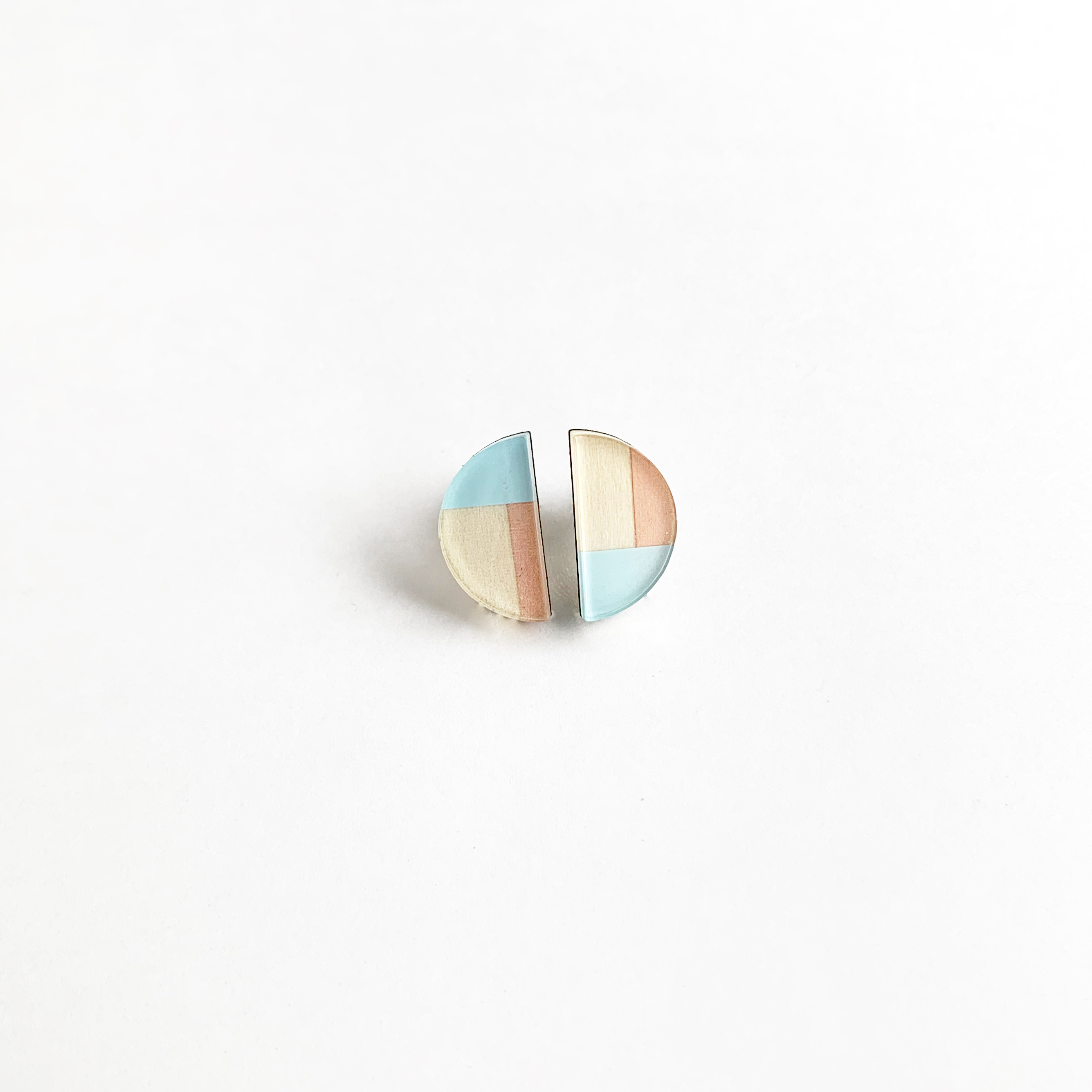 2カラー半円ピアス