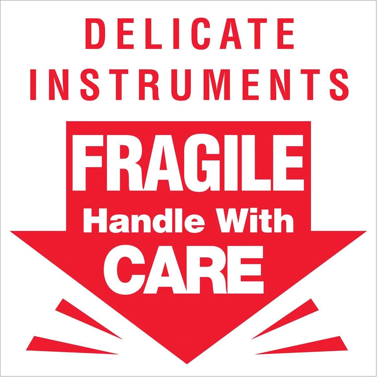 """FRAGILE 3"""" x 3"""" Delicate Instrument ラベル (500PC)"""
