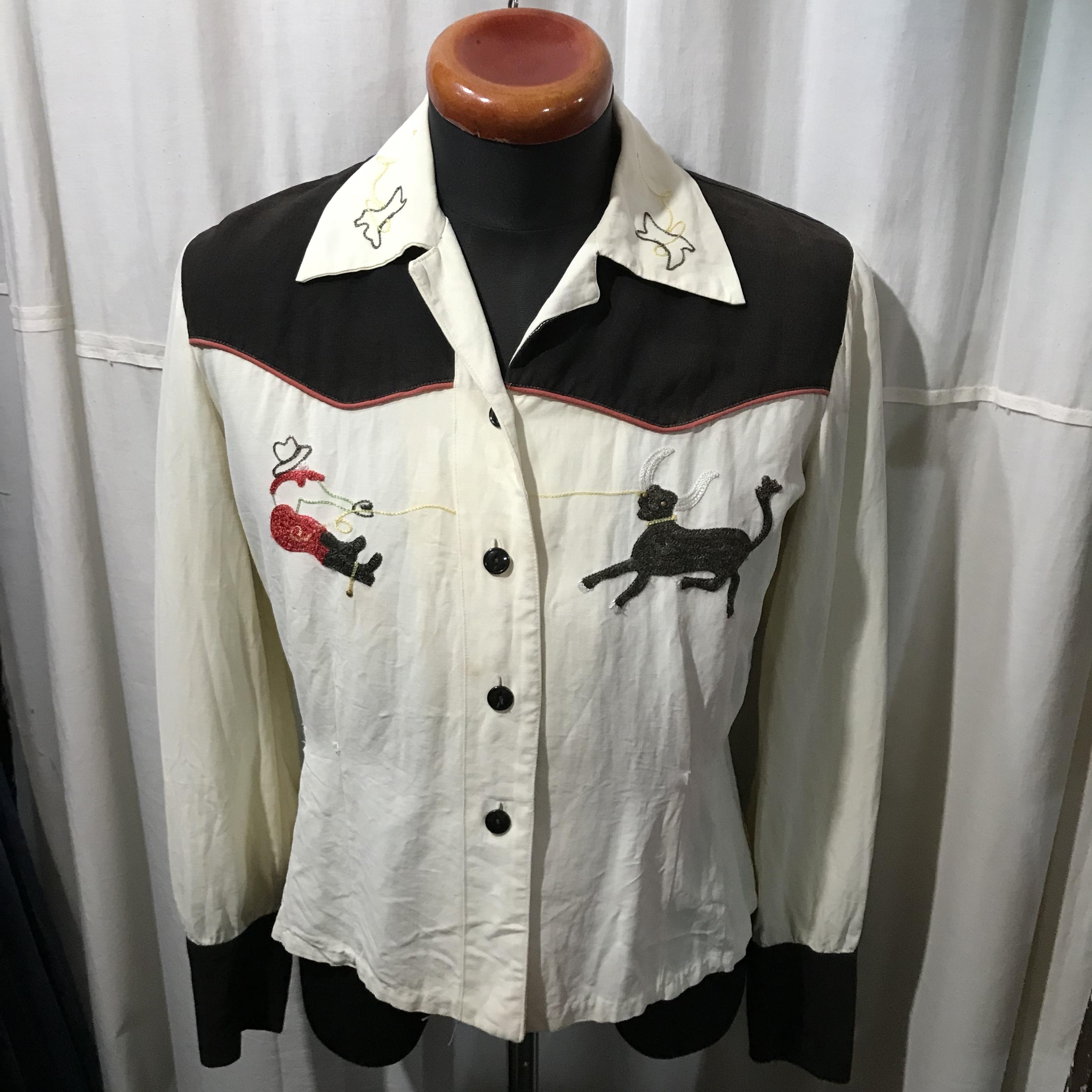 unknown レディースオープンカラーシャツ 刺繍 メンズS