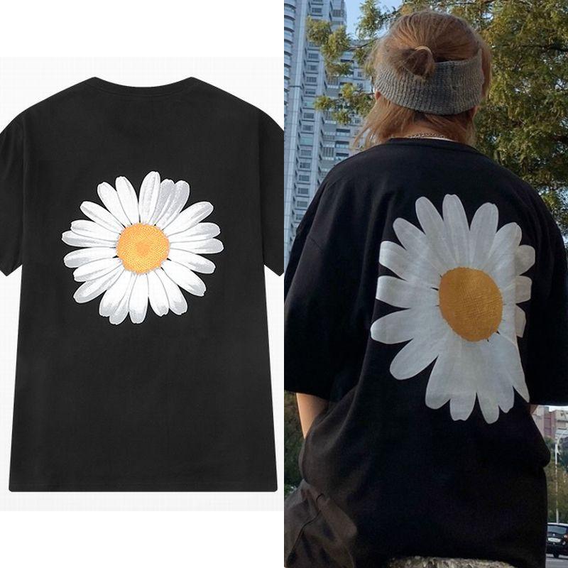 ユニセックス Tシャツ 半袖 メンズ レディース ラウンドネック シンプル フラワー 花 バックプリント オーバーサイズ 大きいサイズ ルーズ ストリート