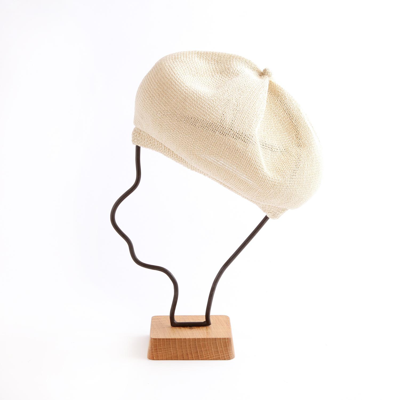 mature ha./beret top gather linen/ecru