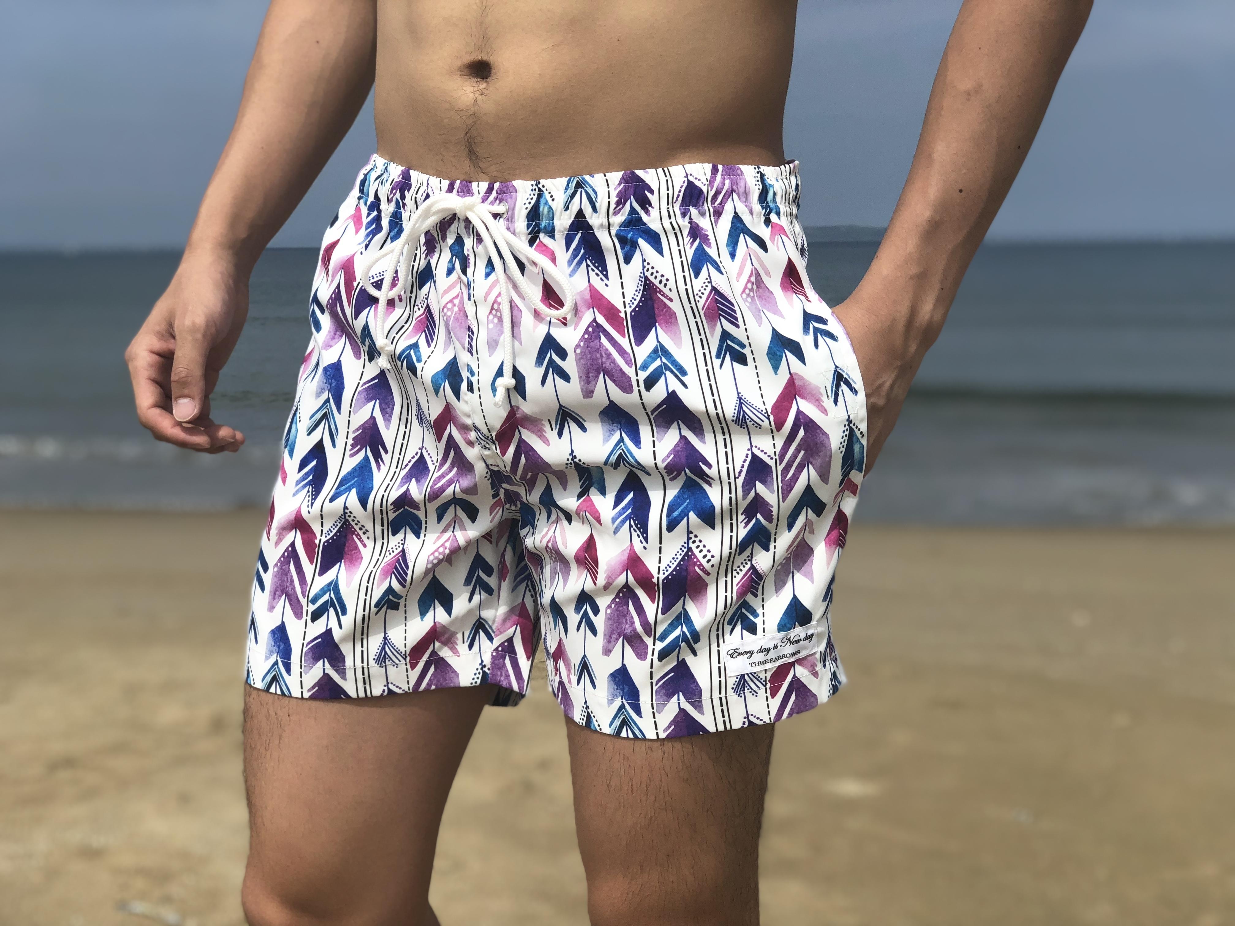 【7/13 0:00 ReStock 送料無料】ThreeArrows Print Board Shorts(arrow purple)